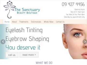 The Sanctuary Beauty Boutique - Modern Wide Fluid Website Design